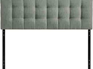 Modway lily Tufted linen Fabric Upholstered Queen Headboard in Gray