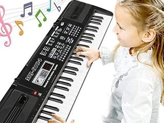 Digital Music Piano Keyboard 61 Key   Portable Electronic Musical Instrument Multi function Keyboard and Microphone for Kids Piano Music Teaching Toys Birthday Christmas Day Gifts for Kids