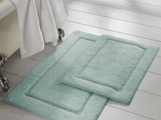 2 Pack Non Slip Soft Cotton Bath Rug Set in Spa Blue