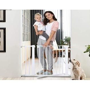 KINGMAZI Safety Baby Gate 29 5 40 5 inch Auto Close Features luxury Extra Tall Wide Child Gate  Heavy Duty gate  Easy Walk Thru