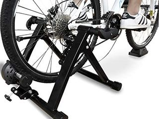 BalanceFrom Bike Trainer Stand Steel Bicycle Exercise Magnetic Stand with Front Wheel Riser Block  Black