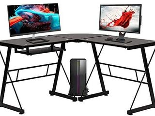 l Shape Corner Computer Desk Glass laptop Table Workstation Home Office