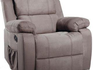 CASAINC Suede Heated Massage Recliner Sofa Chair Ergonomic lounge
