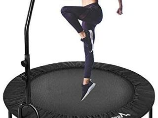 Foldable Mini Trampoline Rebounder  Indoor Fitness Trampoline with Handrail and Safety Pad  Exercise Trampoline Rebounder for Kids Adults Indoor Garden Workout