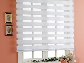 Winsharp Basic  White  W 34 x H 64 inch  Zebra Rolling Blinds  Dual layer Shades  Sheer or Privacy light Control  Day and Night Window Drapes