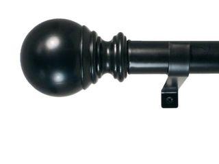Decopolitan 1  Diameter Ball Telescoping Drapery Rod Set 18 36  Black