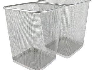 Greenco Mesh Wastebasket Trash Can  Square  6 Gallon  Silver  5 Pack