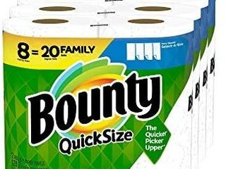 Bounty Quick Size Paper Towels  White  8 Family Rolls   20 Regular Rolls