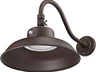 lEONlITE lED 14 Inch Gooseneck Barn light  4800lm 3000K Wet location Rated  Photocell Included Swivel Head Dusk to Dawn Outdoor Wall light  40W Equivalent 250W ETl Certified  Brown