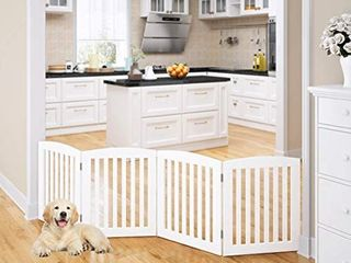 PAWlAND Wooden Freestanding Foldable Pet Gate for Dogs  24 inch 4 Panels Step Over Fence  Dog Gate for The House  Doorway  Stairs  Extra Wide  White  24  Height 4 Panels