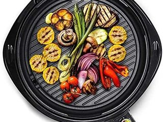 Elite Gourmet EMG 980B large Indoor Electric Round Nonstick Grill Cool Touch Fast Heat Up Ideal low Fat Meals Easy to Clean Design Dishwasher Safe Includes Glass lid  14  Black