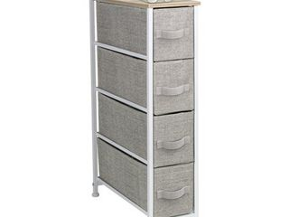 Sorbus Narrow Dresser Tower with 4 Drawers   Vertical Storage for Bedroom  Bathroom  laundry  Closets  and More  Steel Frame  Wood Top  Easy Pull Fabric Bins  Beige