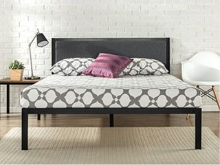 zinus 14 inch platform metal bed frame with upholstered headboard   mattress foundation   wood slat support  queen