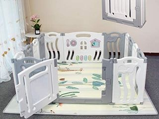 Foldable Baby playpen Baby Folding Play Pen Kids Activity Centre Safety Play Yard Home Indoor Outdoor New Pen with Drawing Boardi1 4Ocean Themei1 4