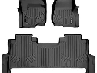 SMARTlINER Custom Floor Mats 2 Row liner Set Black for 2017 2020 Ford F 250 F 350 F 450 Super Duty Crew Cab with 1st Row Bench Seat