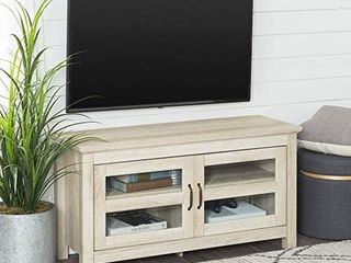 Walker Edison Furniture Simple Wood Stand for TV s up to 48  living Room Storage  White Oak  WQ44CFDWO