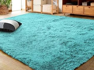 lOCHAS Ultra Soft Indoor Modern Area Rugs Fluffy living Room Carpets for Children Bedroom Home Decor Nursery Rug 4x5 3 Feet  Blue  ACTUAl SIZE UNKNOWN