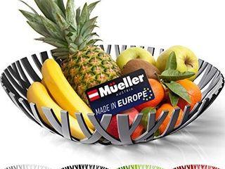 Mueller Fruit Basket  Decorative Fruit Bowl  Fruit and Vegetables Holder for Counters  Kitchen  Countertop  Home Decor  European Made  Gray
