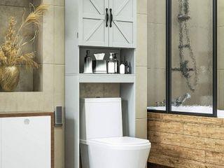 SRIWATANA Over The Toilet Storage Cabinet  Bathroom Organizer with Adjustable Shelf  2 Door Toilet Storage Rack  Gray