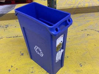 Rubbermaid Commercial Products FG354007BlUE Venting Slim Jim Recycling Waste Container  Blue