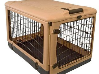 Pet Gear The Other Door Steel Crate with Fleece Pad for cats and dogs up to 90 pounds  Tan