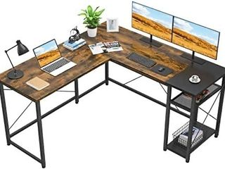Foxemart l Shaped Computer Desk  Industrial Corner Desk Writing Study Table with Storage Shelves  Space Saving  large Gaming Desk 2 Person Table for Home Office Workstation  Rustic Brown Black