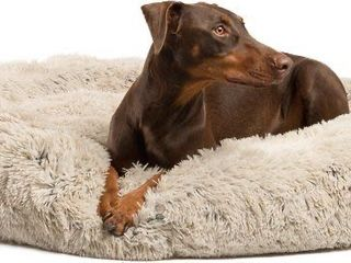 Best Friends by Sheri The Original Calming Shag Fur Donut Cuddler Cat   Dog Bed  Taupe  X large