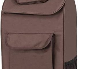dbest products Trolley Dolley Shopping Grocery Foldable Utility Cart Tote  Brown  Retail  52 99