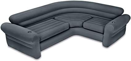 Intex 68575VM Inflatable Indoor Corner Couch Sectional with Cupholders  Gray  Retail  141 99