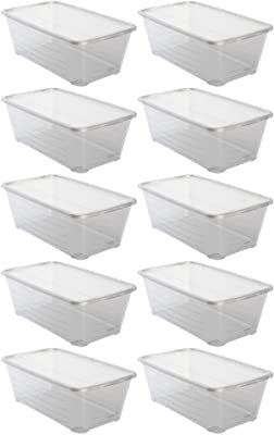 life Story 6 Quart Shoe Storage Box Stacking Container Bin with lids  10 Pack  Retail  44 99