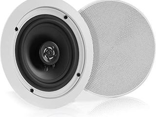 PYlE PDIC61RD 5 25  150W PRO Max 2 Way Round In Ceiling Wall Speaker  2 Pack  Retail  56 99