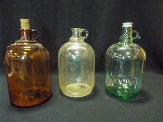 Glass Gallon Jugs  Clear  Green  Brown  3