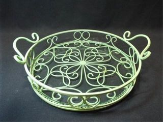 Metal Green Tray with Glass
