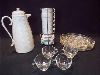 Carafe  Cups Saucers  Snack Trays   Cups