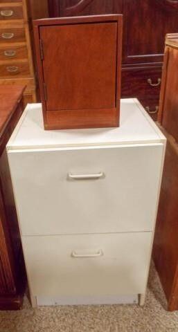 Wood Storage Box  White File Cabinet