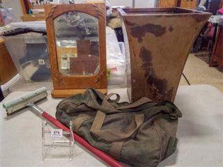 Trash Can  Mirror  Squeegie  Bag