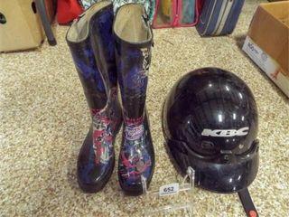 KBC Hard Helmet  Rain Boots   size 8