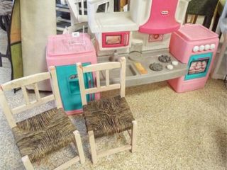 little Tykes Kitchen  Two Wood Chairs