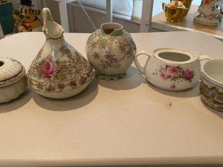 ASIAN AND GERMAN CREAMER  TEA CUP  SUGAR BOWl AND