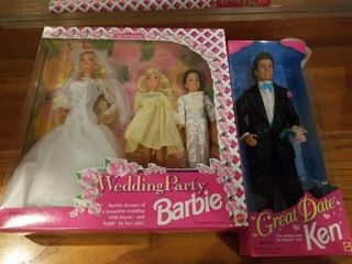 1994 WEDDING PARTY BARBIE AND 1995 KEN