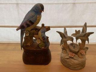 2 BIRD FIGURINES  ONE IS MUSIC BOX