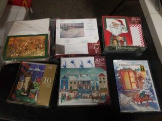 A BAG AND 4 BOXES OF MISCEllANOUS CHRISTMAS CARDS
