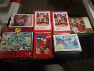 6 ASSORTED CHRISTMAS CARDS AND 1 COCA COlA BOX OF