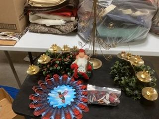 CANDlEABRA  CARD TREE  SANTA   BUTTONS AND BIRD