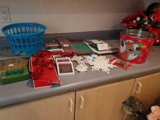 MISCEllANOUS CHRISTMAS DECORATIONS  BUCKET AND A