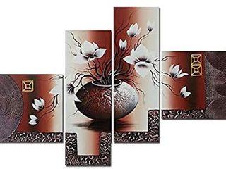 WIECO ART FRAMED ElEGANT FlOWER ARTWORK 4 PANElS