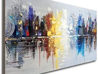 HAND PAINTED CITYSCAPE OIl PAINTING ART DECOR  48