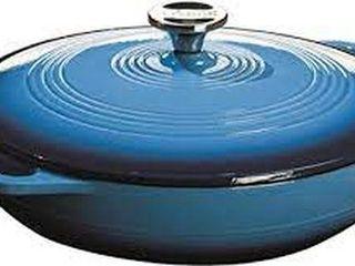 lODGE ENAMEl CAST IRON PAN  3 6 QUART