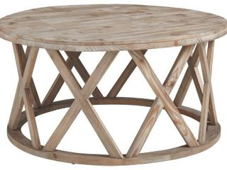 Wooden Plank Top Round Cocktail Table