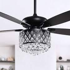 4 light Crystal 5 Blade Ceiling Fan